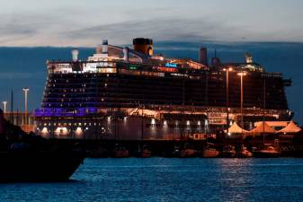The Costa Smeralda cruise ship is seen docked in the Civitavecchia port 70km north of Rome on the evening of January 30, 2020. © Filippo MONTEFORTE / AFP