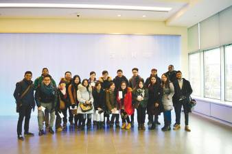 The Monash MIB student entourage pause for a group shot during a stint at Samsung in Seoul where they gained insights from industry professionals of the multinational conglomerate.