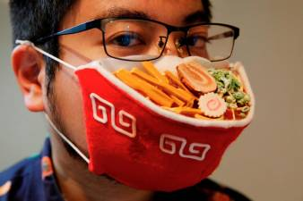 Artist creates ramen face mask