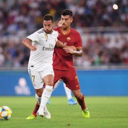 Filepix taken on Aug 11 shows Real Madrid's Eden Hazard in action with AS Roma's Lorenzo Pellegrini in Stadio Olimpico, Rome, Italy. — Reuters