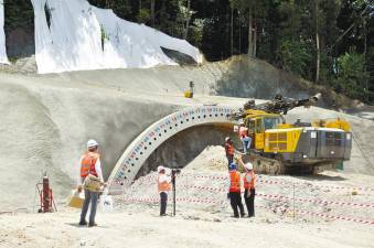 Work being carried out on an ECRL tunnel at Bukit Bauk in Dungun district, Terengganu, on March 27 last year. An estimated 44 tunnels will serve the 688km railway line. – Bernamapix