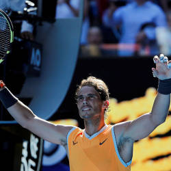 Rafael Nadal reacts after winning the match against Tomas Berdych. — AFP