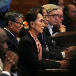 Myanmar's leader Aung San Suu Kyi attends a hearing in a case filed by Gambia against Myanmar alleging genocide against the minority Muslim Rohingya population, at the International Court of Justice (ICJ) in The Hague, Netherlands Dec 10, 2019. — Reuters