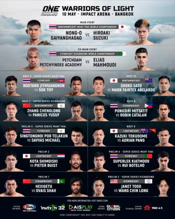 Complete card announced for ONE: Warriors of Light in Bangkok on May 10