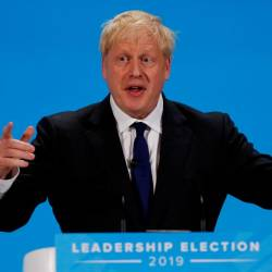 Boris Johnson, a leadership candidate for Britain's Conservative Party, speaks during a hustings event in London, Britain July 17, 2019. — Reuters