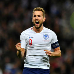 England's Harry Kane celebrates scoring his team's fifth goal against Montenegro for the Euro 202 Qualifier's last night — Reuters