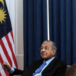 Prime Minister Tun Dr Mahathir Mohamad speaks during a press conference in during his three-day visit to the United Kingdom, at the Malaysian High Commission in London on June 15, 2019. - Bernama