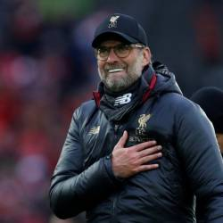 Liverpool manager Juergen Klopp celebrates after the Liverpool v Tottenham Hotspur match at Anfield on Mar 31. — Reuters