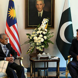 Prime Minister Tun Dr Mahathir Mohamad attends a meeting with Pakistan Prime Minister Imran Khan at the Pakistan Prime Minister's House in Islamabad on March 22, 2019. — Bernama