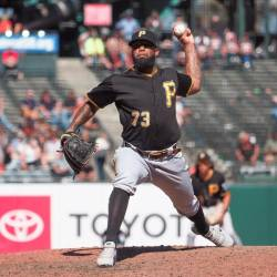 Pittsburgh Pirates relief pitcher Felipe Vazquez (73) pitches the ball against the San Francisco Giants during the ninth inning at Oracle Park. — Reuters