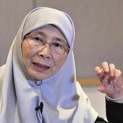 Filepix taken on July 10 shows Deputy Prime Minister Dr Wan Azizah Wan Ismail speaking in Beijing during her official visit to China. — Bernama