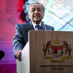 Prime Minister Tun Dr Mahathir Mohamad during the launch of the 2019-2030 National Transport Policy at Kuala Lumpur Central Station today. — Bernama