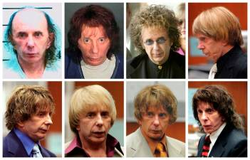FILE PHOTO: Music producer Phil Spector is pictured wearing a variety of wigs during his murder trial in this combination image made from file photos. Spector, 69, was sentenced to at least 19 years in prison for the 2003 murder of a Hollywood actress and could spend the rest of his life behind bars. REUTERS/Files/File Photo