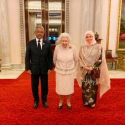 From left: The Yang di-Pertuan Agong Al-Sultan Abdullah Ri'ayatuddin Al-Mustafa Billah Shah, Queen Elizabeth II, and the Raja Permaisuri Agong Tunku Hajah Azizah Aminah Maimunah Iskandariah, during their meet at Buckingham Palace, on Dec 14, 2019. — Bernama