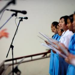 A nun and students sing in a Catholic church ahead of Pope Francis' visit to Thailand, in Nakhon Pathom province, Thailand on Nov 16, 2019. — Reuters