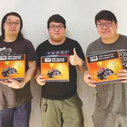 From left: First City UC FEC Alumni and brothers Yee Jun, Yee Jian and Yee Juan with their CR8 Beyond Developer Kit.