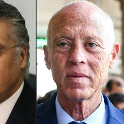 Nabil Karoui, Tunisian media magnate, on the left and independent candidate Kais Saied apeear to be leading the polls with just over a quarter of the votes counted. — AFP
