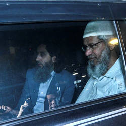 Zakir leaving Bukit Aman following almost five hours of questioning, on Friday.