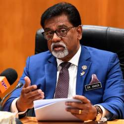 Water, Land and Natural Resources Minister Dr A. Xavier Jayakumar speaks during a press conference at his ministry offices on September 8, 2019. - Bernama