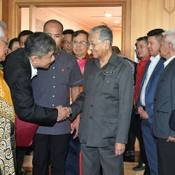 Prime Minister Tun Dr Mahathir is greeted upon arrival for the the 2019 Malaysia Day, Kuching, on Sept 16, 2019. — Bernama