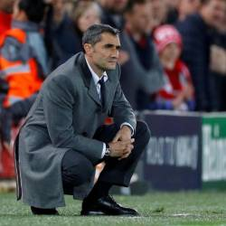 Barcelona coach Ernesto Valverde looks on during the Liverpool v FC Barcelona match at Anfield on May 7, 2019. — Reuters