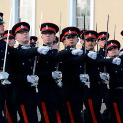 The Regent of Pahang Tengku Hassanal Ibrahim Alam Shah (4th L), during a march at the Royal Military Academy Sandhurst, on Dec 13, 2019. — Bernama