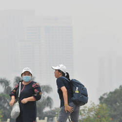 A local visitor wears a face mask due to the haze in Taman Tasik Perdana today. — Bernama