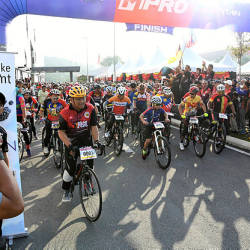 Participants of the cycling event setting off at Negri Sembilan'sNational Sports Month celebration yesterday.