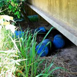 Blue barrels seen under a bridge near Sungai Sembilang, Taman Tanjung Putri Resort, Johor Baru on March 18, 2019. — Bernama