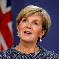 Australian then Foreign Minister Julie Bishop speaks at a joint press conference — Reuters
