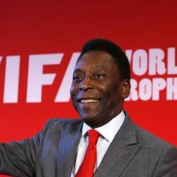 "Filepix of Brazilian soccer legend Pele attending a news conference to present the FIFA World Cup global ""Trophy Tour"" in Paris Mar 10 2014"