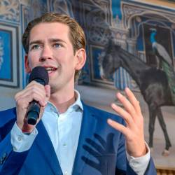 Austrian People's Party (OeVP) head Sebastian Kurz speaks during an election rally at Baden, Austria on Sept 19, 2019. — AFP