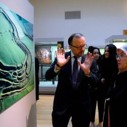 The Raja Permaisuri Agong Tunku Hajah Azizah Aminah Maimunah Iskandariah (R) listens to a briefing by Deputy Director of the British Museum, Jonathan Williams (L), on Dec 15, 2019.. — Bernama