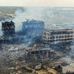 An aerial view shows damaged buildings after an explosion at a chemical plant in Yancheng in China's eastern Jiangsu province early on March 22, 2019. — AFP