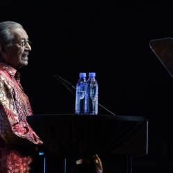 Prime Minister Tun Dr Mahathir Mohamad speaks during the 'My Voice My Nation Malaysia 2019' edutainment concert at the Axiata Arena in Bukit Jalil on the night of June 26, 2019. - Bernama