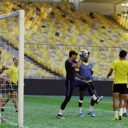 The Harimau Malaya squad trains at the Bukit Jalil National Stadium today, ahead of their meeting with Indonesia in the 2022 World Cup / 2023 Asia Cup qualifying round at the same venue tomorrow. — Bernama