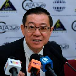 Finance Minister Lim Guan Eng holds a press conference after officiating the 40th CATA Annual Technical Conference 2019 at a hotel today. - Bernama