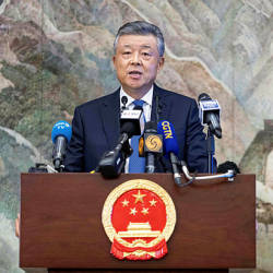 China's ambassador to Britain Liu Xiaoming speaks to members of the media during a press conference relating to continuing unrest in Hong Kong, at the Chinese Embassy in London on November 18, 2019. — AFP