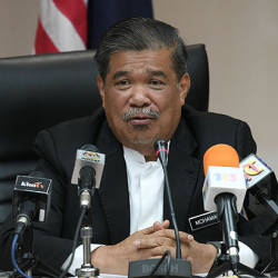 Defense Minister Mohamad Sabu speaks at a press conference at the Ministry of Defence on April 19, 2019. — Bernama