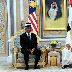 The Yang di-Pertuan Agong Al-Sultan Abdullah Ri'ayatuddin Al-Mustafa Billah Shah (L) and UAE's Deputy Prime Minister and Minister of Presidential Affairs Sheikh Mansour bin Zayed Al Nahyan and Minister of Tolerance Sheikh Nahyan bin Mubarak Al Nahyan, during a meeting, on June 16, 2019. — Bernama