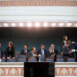 Diplomats and officials are seen before a swearing-in ceremony of the newly-elected lawmakers at the Greek parliament in Athens, Greece, July 17, 2019. — Reuters