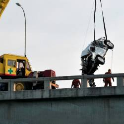 Rescue workers recover a Mazda CX5 SUV from the sea after it veered off the Penang Bridge on Jan 20, 2019. — Bernama