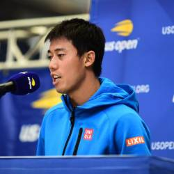Kei Nishikori of Japan speaks during media day prior to the 2019 US Open at the USTA Billie Jean King National Tennis Center on Aug 23, 2019 in Flushing, Queens, in New York City. - AFP