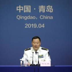 Qiu Yanpeng, deputy commander of the People's Liberation Army (PLA) Navy, attends a news conference ahead of the 70th anniversary of the founding of Chinese People's Liberation Army Navy, in Qingdao, China, April 20, 2019. — Bernama
