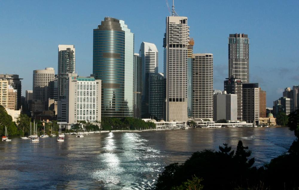 FILE PHOTO: The Brisbane River is seen flowing past the skyline of central Brisbane.-Reuters