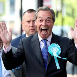 Brexit Party leader Nigel Farage gestures as he arrives to attend a Brexit Party campaign event in Newcastle, Britain, May 20, 2019. — Reuters