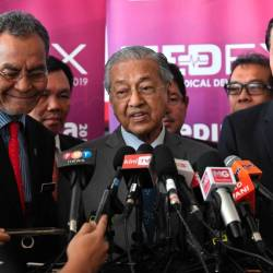 Prime Minister Tun Dr Mahathir Mohamad speaks during a press conference after officiating the International Medical Device Conference (IMDC) 2019 and Malaysia Medical Device Expo (MYMEDEX) 2019 today.
