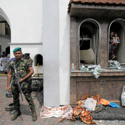 Sri Lankan military officials stand guard in front of the St Anthony's Shrine, Kochchikade church after an explosion in Colombo, Sri Lanka April 21, 2019. — Reuters