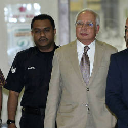 Former prime minister Datuk Seri Najib Abdul Razak arrived to attend a trial involving SRC International Sdn Bhd's fund, totalling RM42 million at the Kuala Lumpur High Court on April 17, 2019. — Bernama
