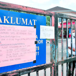 An entrance to a school in Pasir Gudang on March 17, 2019. — Bernama